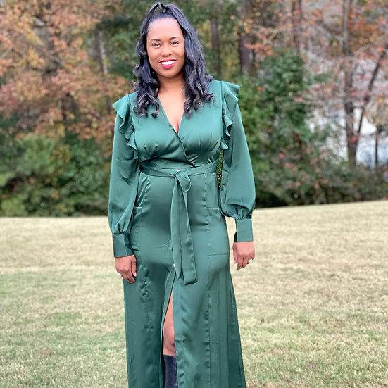 Emerald Green Long Flow Dress