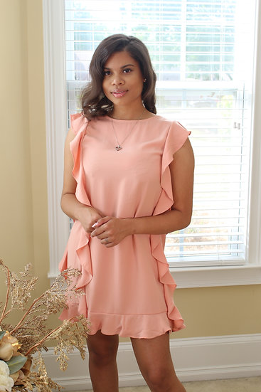 Salmon Pink Ruffle Dress