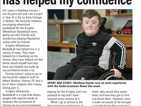 Wheelchair basketball has helped my confidence