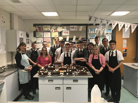 Making chocolate fudge cake with the Year 12 Patisserie & Baking class