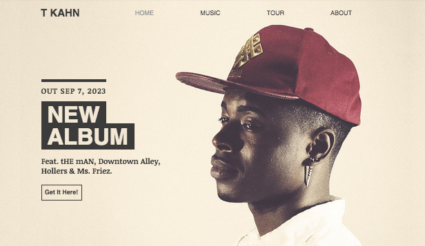 Solista website templates – Artysta Hip-Hop