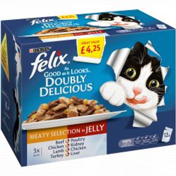 Felix As Good As It looks Doubly Delicious Meat Selection in Jelly 12 pack