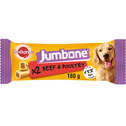 Pedigree Jumbone Medium Dog Low Fat Treats with Beef and Poultry 2 Chews 180g