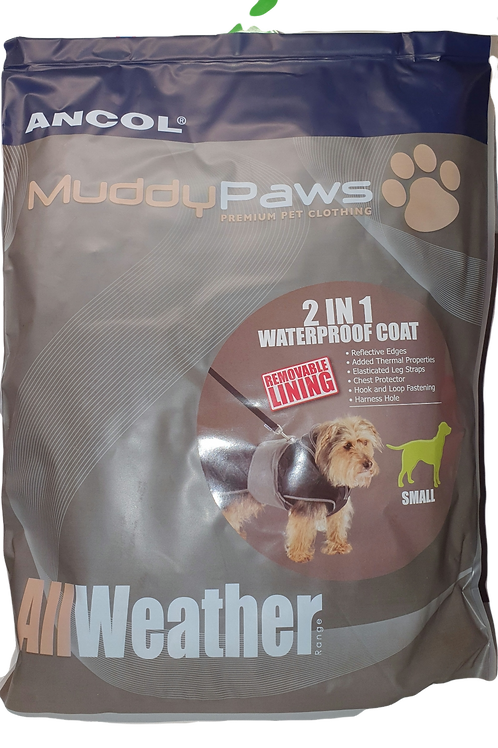 Ancol Muddy paws. 2 in 1 waterproof coat