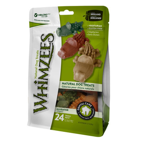 Whimzees alligator natural dental dog chew. Small 69mm 24 pack.