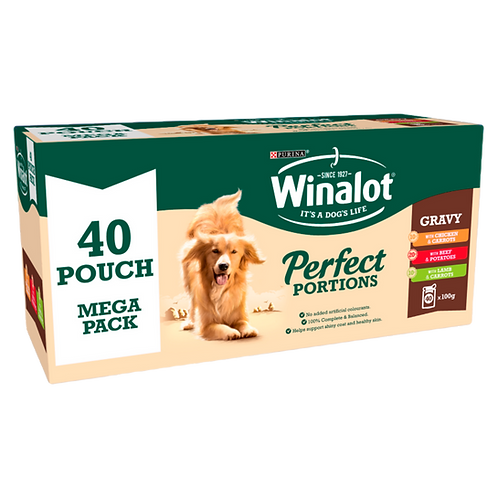 Winalot Perfect Portions in Gravy Adult Wet Dog Food Pouches - 40 x 100g
