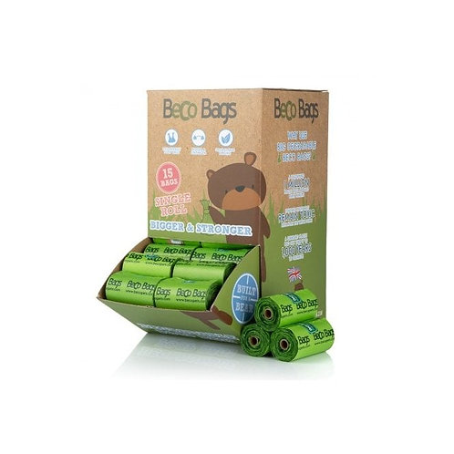 Beco biodegradable waste bags. Counter top display 64 rolls.