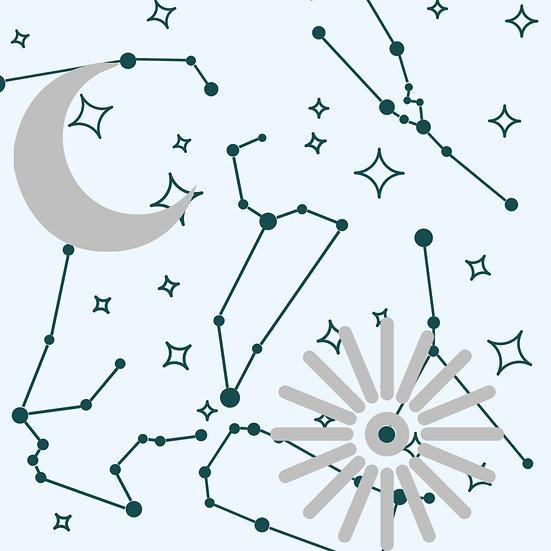 sun, moon, constellations