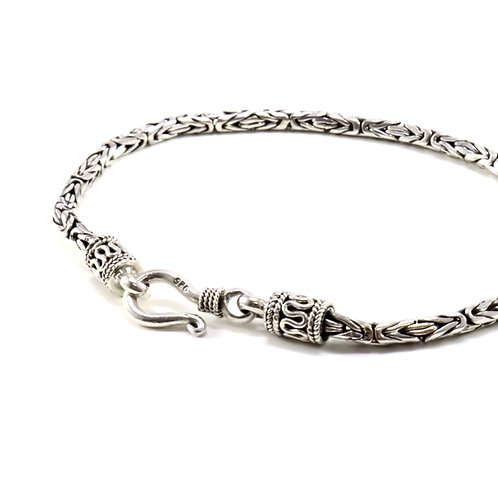 Thin Byzantine link sterling silver bracelet with hook clasp