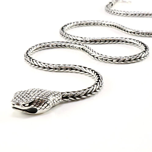Sterling silver snake necklace (foxtail link chain)