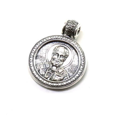 Sterling silver St. Nicholas Greek-Russian orthodox pendant