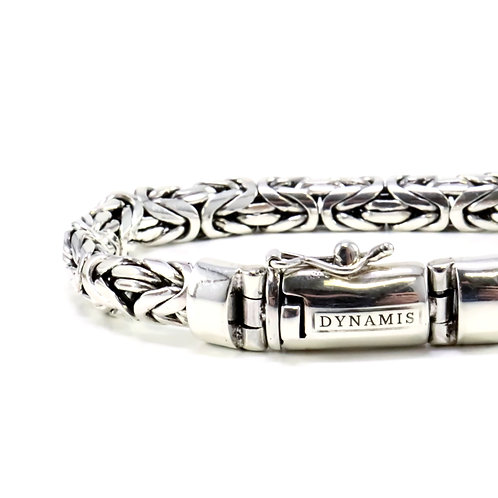 "Byzantine Bali Sterling Silver Bracelet ""Dynamis"" with Box Clasp | Oval"