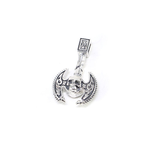 Sterling silver Skull Axe Pendant