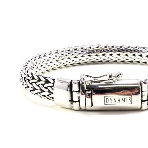 """Foxtail link Bali sterling silver bracelet""""Dynamis"""" with box clasp (9.5 mm)"""