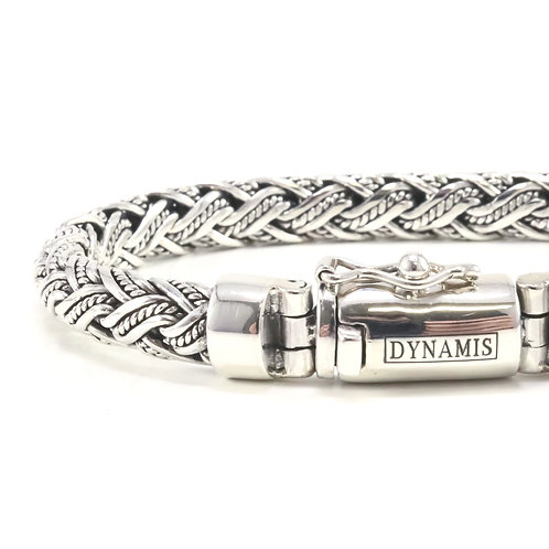 """Bali sterling silver bracelet """"Dynamis"""" with box clasp (7 mm)"""