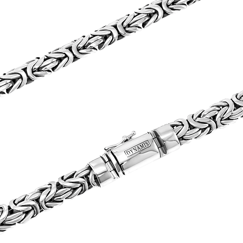 Heavy sterling silver byzantine link necklace with box clasp (11 mm)