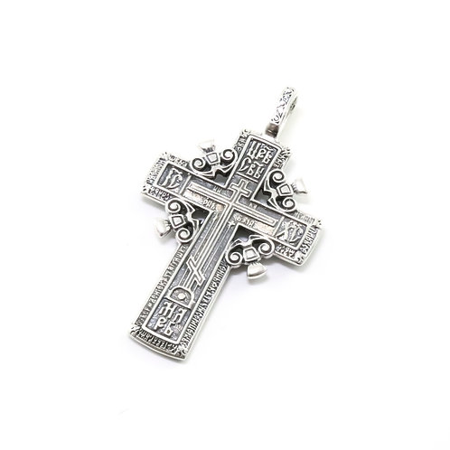 Sterling silver Greek-Russian orthodox cross pendant