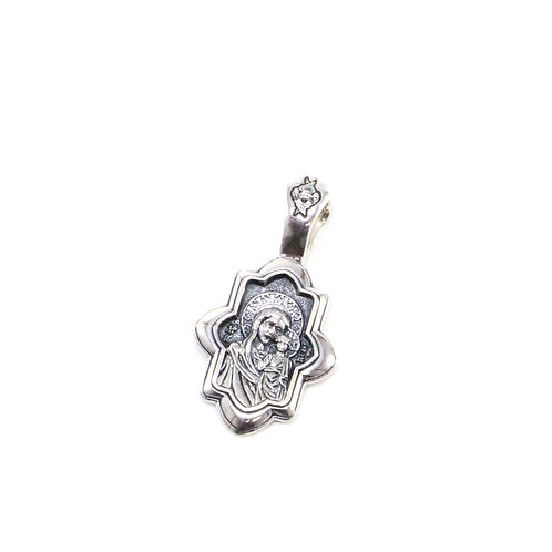 Sterling silver Mother of God Virgin Mary with Jesus Pendant