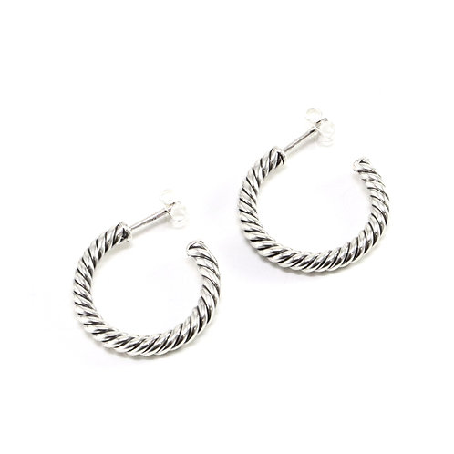 Handcrafted sterling silver hoop earrings
