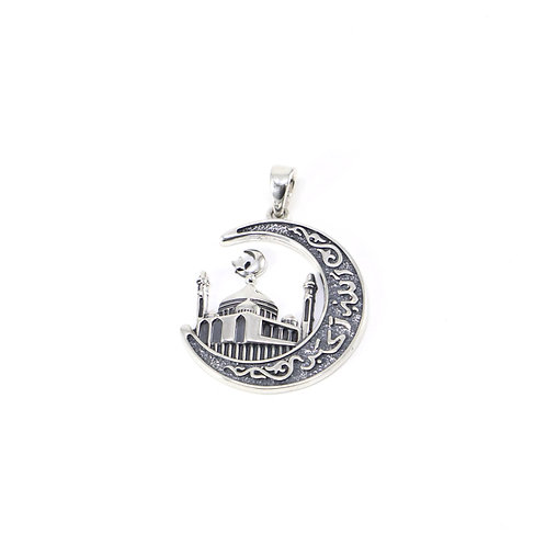 Sterling silver mosque pendant
