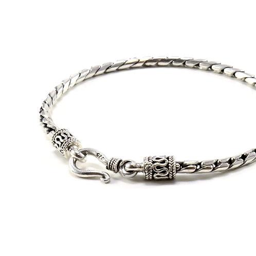 Cobra link sterling silver bracelet with hook clasp