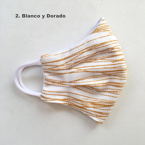 Mascara Rayada Blanco y Dorado