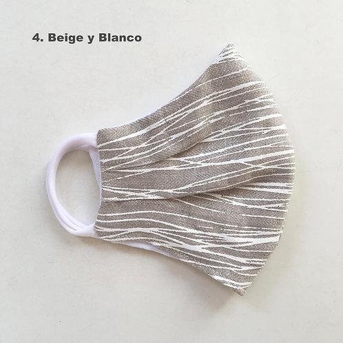 Mascara Rayada Beige y Blanco