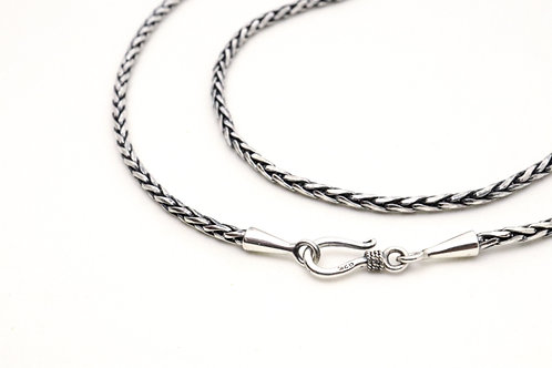 Wheat link sterling silver chain with hook clasp