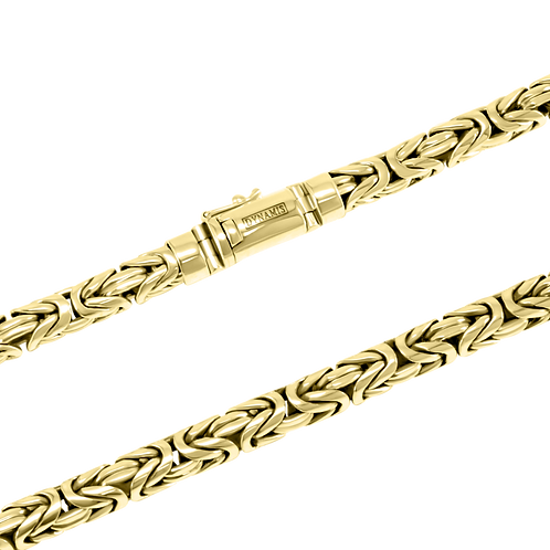 Heavy 18k Yellow Gold byzantine link necklace  (8 mm)