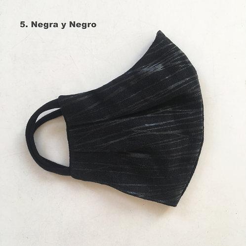Mascara Rayada Negra y Negro