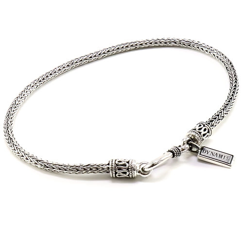 "Thin foxtail link sterling silver bracelet with ""Dynamis"" tag"