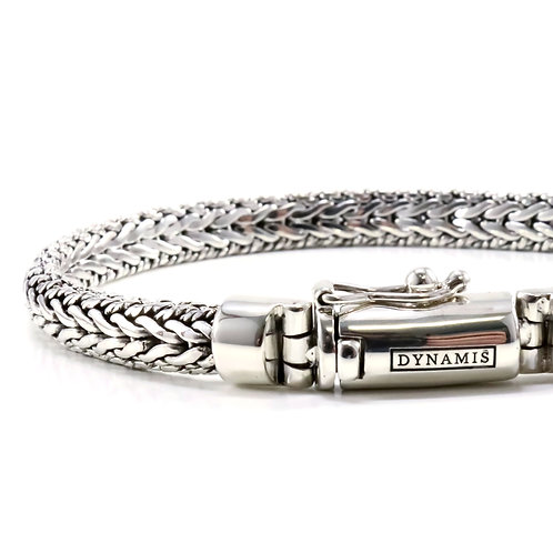 """Foxtail link sterling silver bracelet """"Dynamis"""" with box clasp (6.5 mm)"""