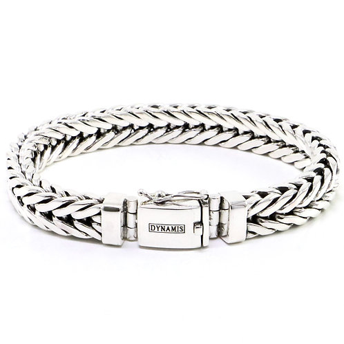 Men's heavy sterling silver bracelet with box clasp (Foxtail link)