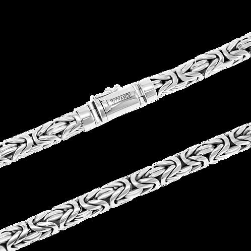 Heavy Sterling silver byzantine link necklace  (8 mm) / Round