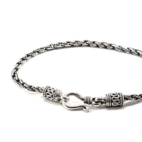 Thin Bali sterling silver bracelet with hook clasp