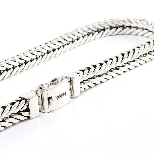 Heavy sterling silver foxtail link necklace with box clasp
