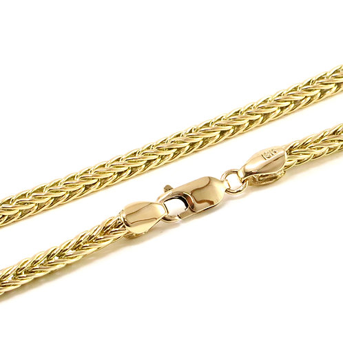 18k Yellow Gold Solid Foxtail Link Necklace
