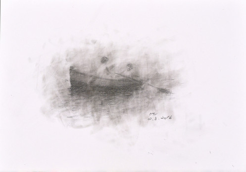 Boat in Lake Kawaguchiko, 1953 (Drawing)