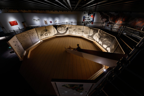 Fusuma-e installation / Globe Cross Section, Water Flows, Tornadoes, Stones, slide and a scaffolding slope