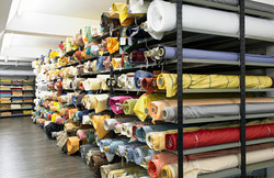 Bolts of Fabric at Bischoff Textile