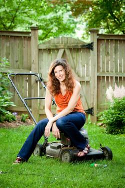 Portrait - Woman on a Lawnmower