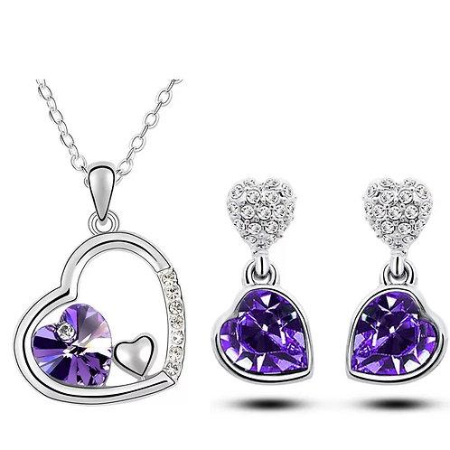 CRYSTAL - Fialový náhrdelník a náušnice