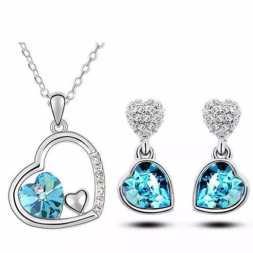CRYSTAL - Ocenanblue náhrdelník a náušnice