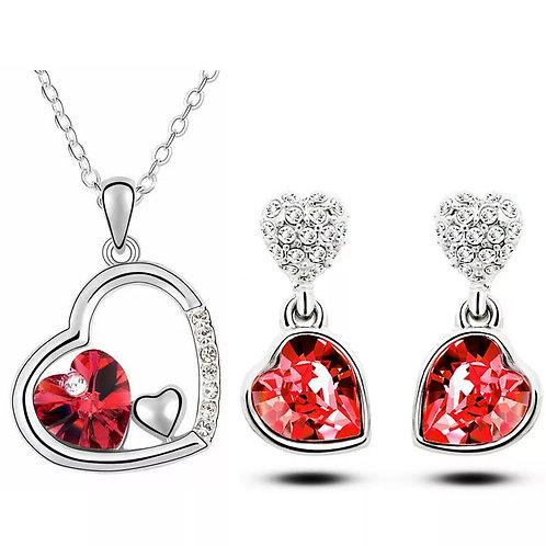 CRYSTAL -  Červený náhrdelník a náušnice