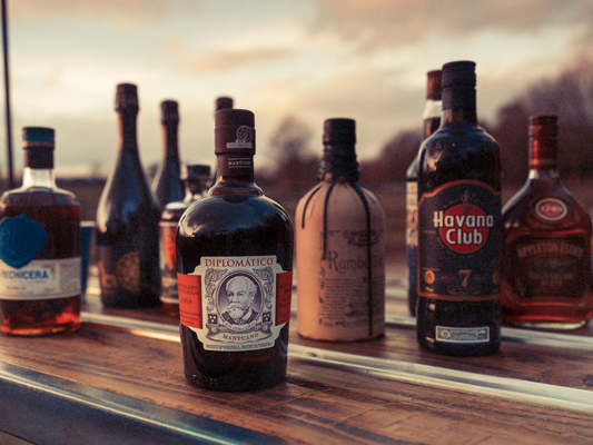 A small selection of our rum at our mobile cocktail bar