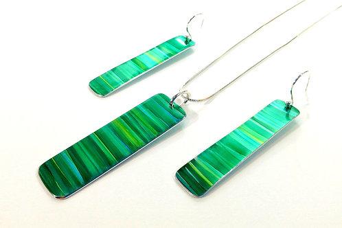 Green Anodised Aluminium & Sterling Silver Matching Set