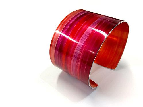 Red Anodised Aluminium Cuff - 4 cm