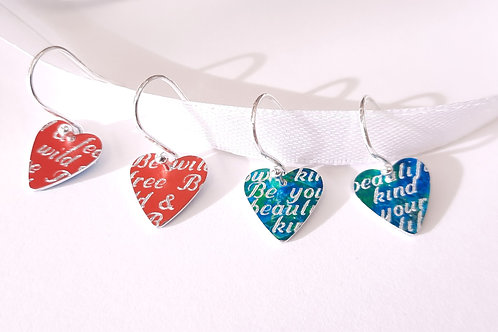 Heart Earrings - With Engraved Message