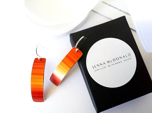 Burnt Orange Anodised Aluminium & Sterling Silver Earrings