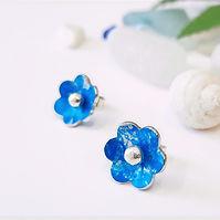 Blue Flower Studs